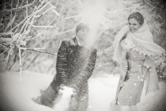 Wedding in a winter forest