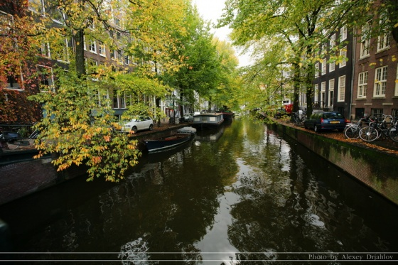 Canals of Amsterdam with small boats