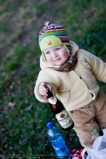 Baby with beer